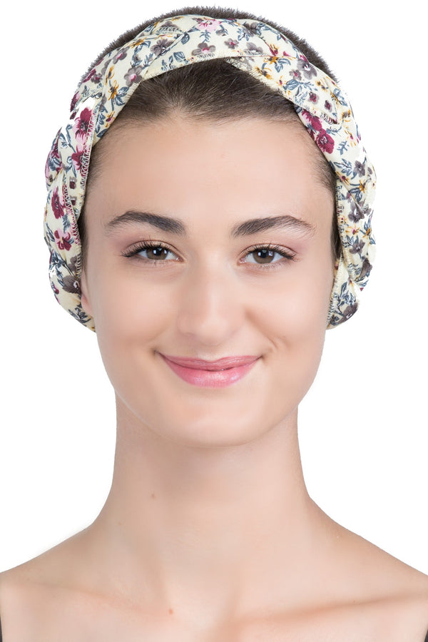 Braided Hairband, Headband (Foral Cream Mink)