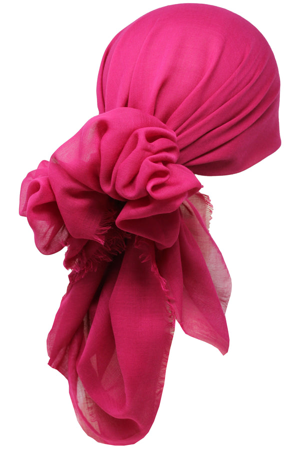 Ultra Soft Head Scarf - Fuchsia with Edges