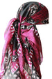 Large Square Head Scarf  - Fuchsia Black