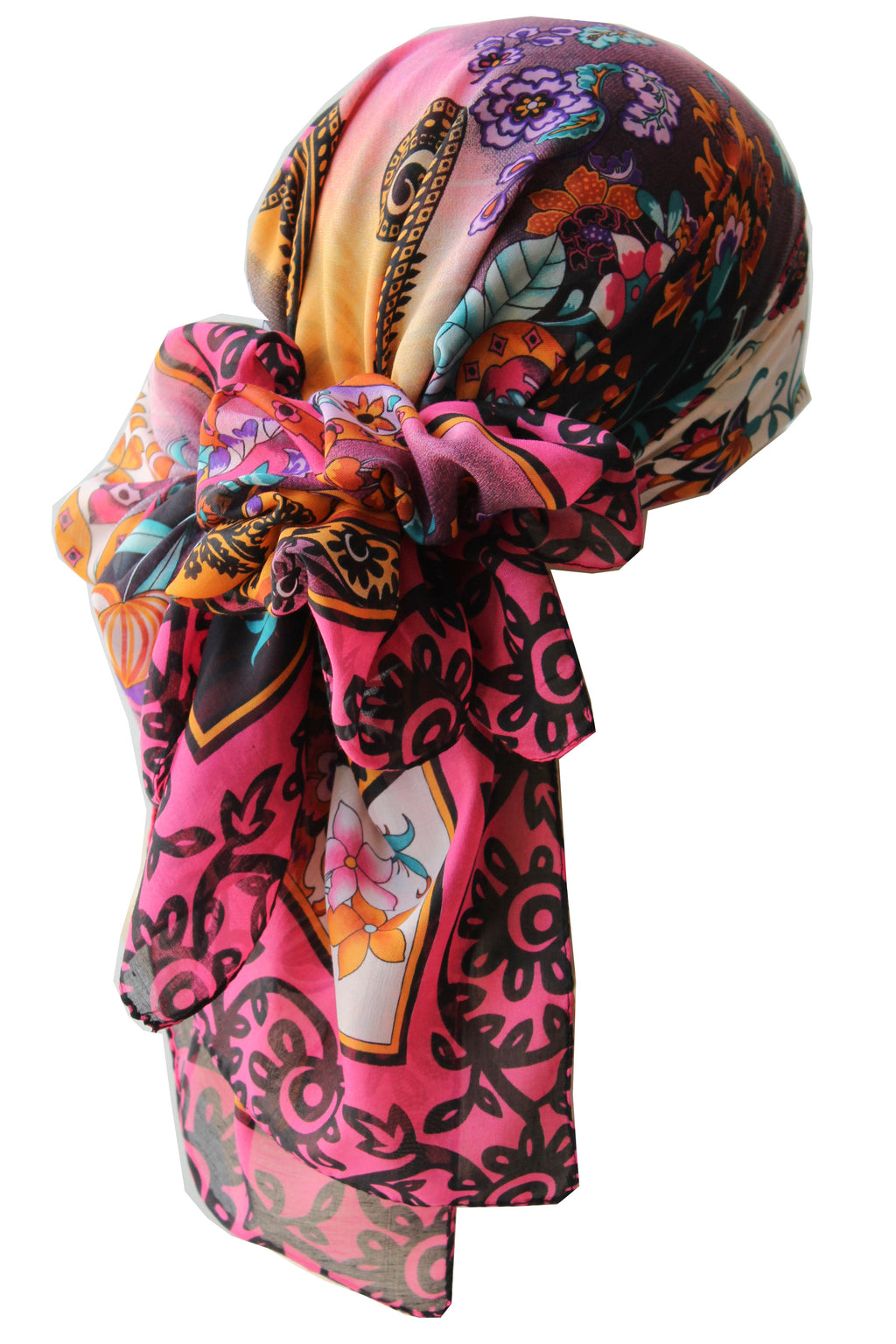 Everyday Square Head Scarf - Gipsy Pink End Floral Print