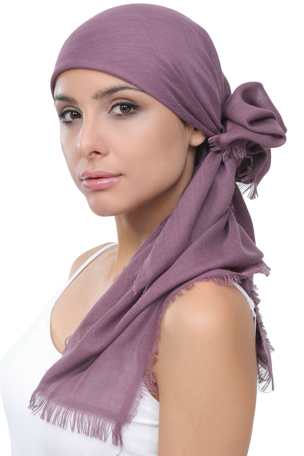 Ultra Soft Head Scarf - Grape with Edges