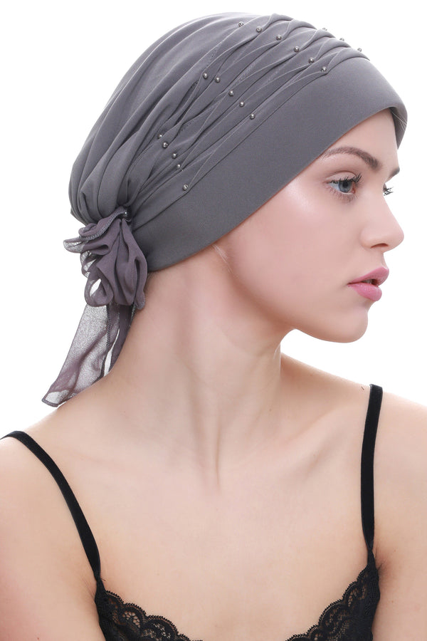Deresina Twisted pleated cancer headwear grey