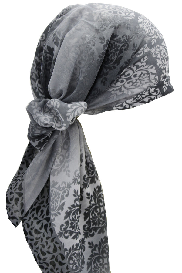Easy Tie Head scarf  (10-Grey Cream Patterned )