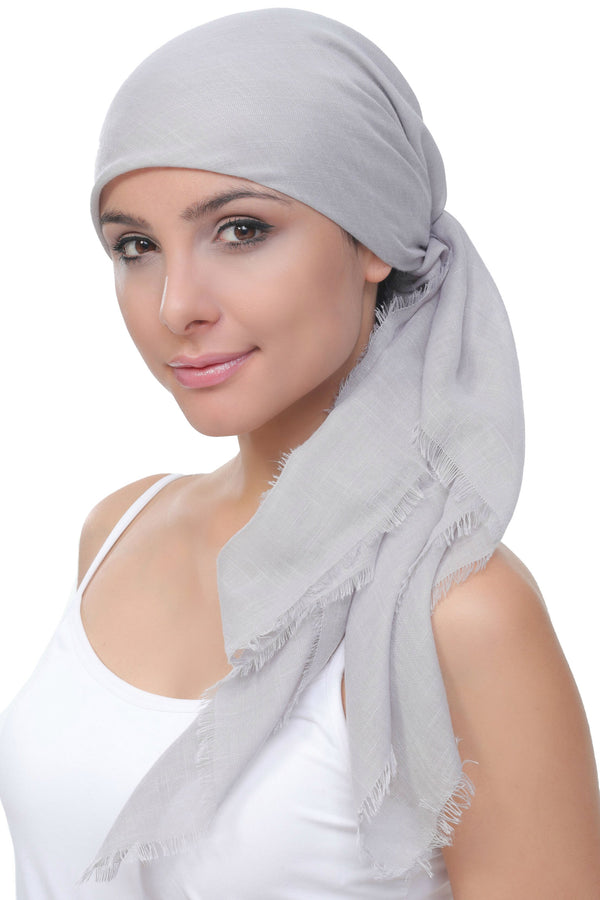 Deresina Four Seasons Square Chemo Headscarf Grey Linen Texture