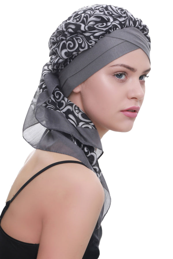 Deresina W cap with attached chemo headscarf grey black paisley