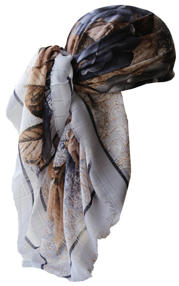 Special Fringed Trim Square Headscarf- Grey Roses