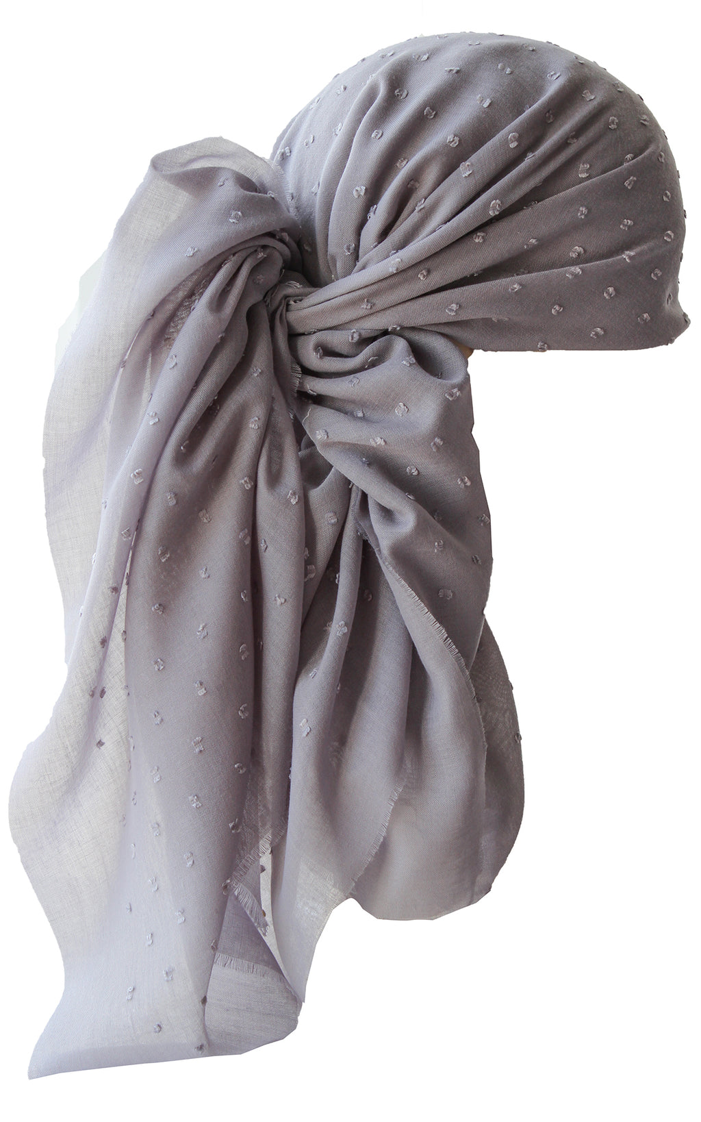 Special Fringed Trim Square Headscarf- T Weeny Grey