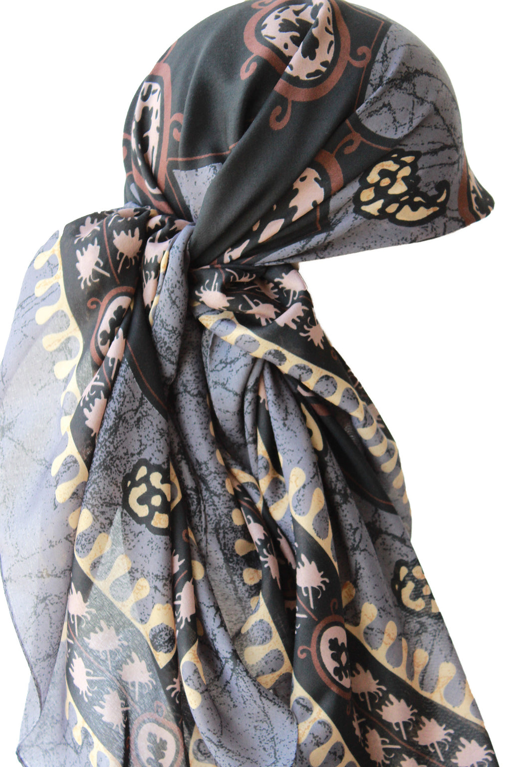 Large Square Head Scarf  - Grey Black