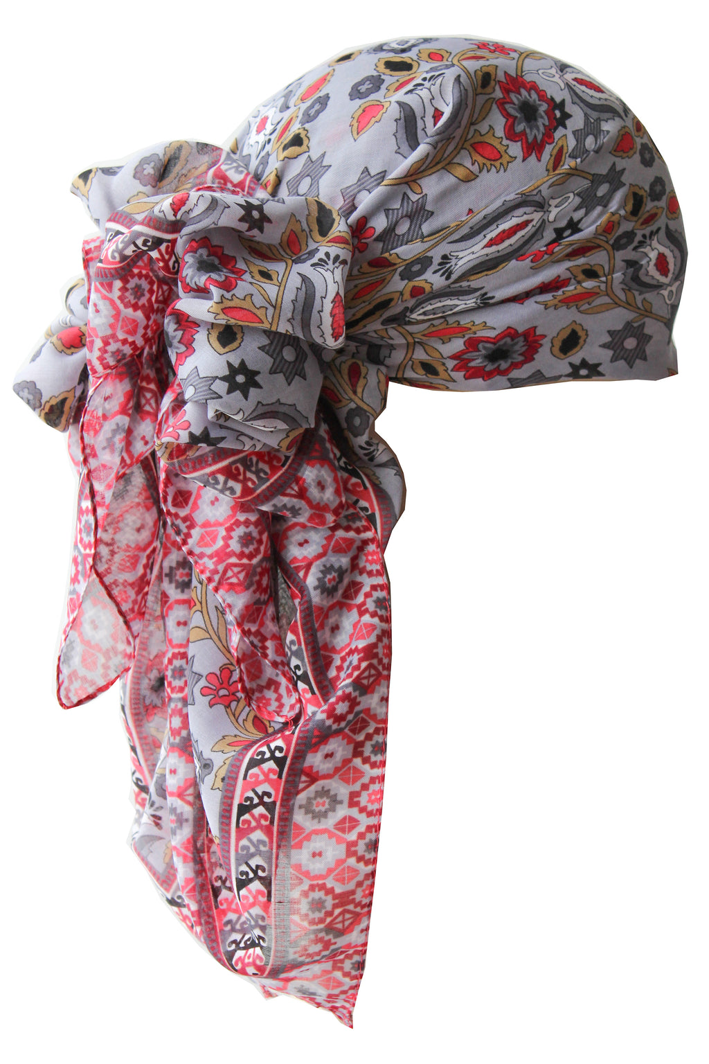 Everyday Square Head Scarf - Grey in all-over print