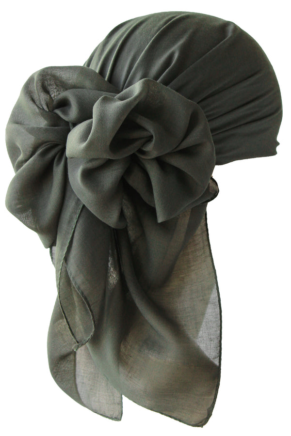 NEW-Plain Square Headscarf- Hunter Green