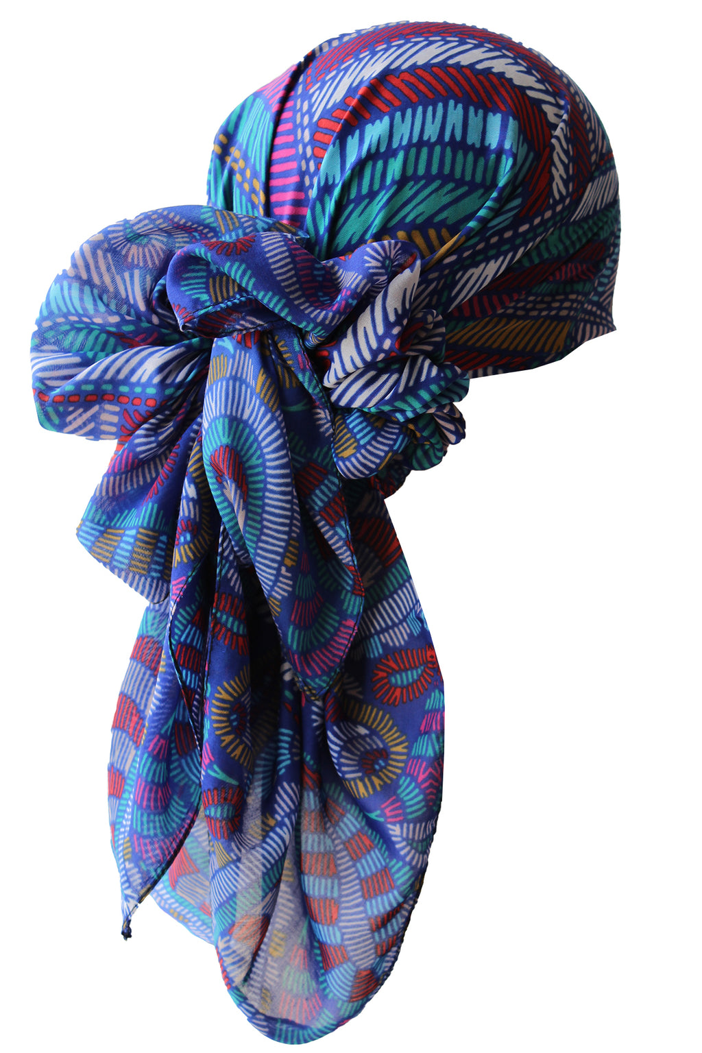 Everyday Square Headscarf- Indigo Aztek
