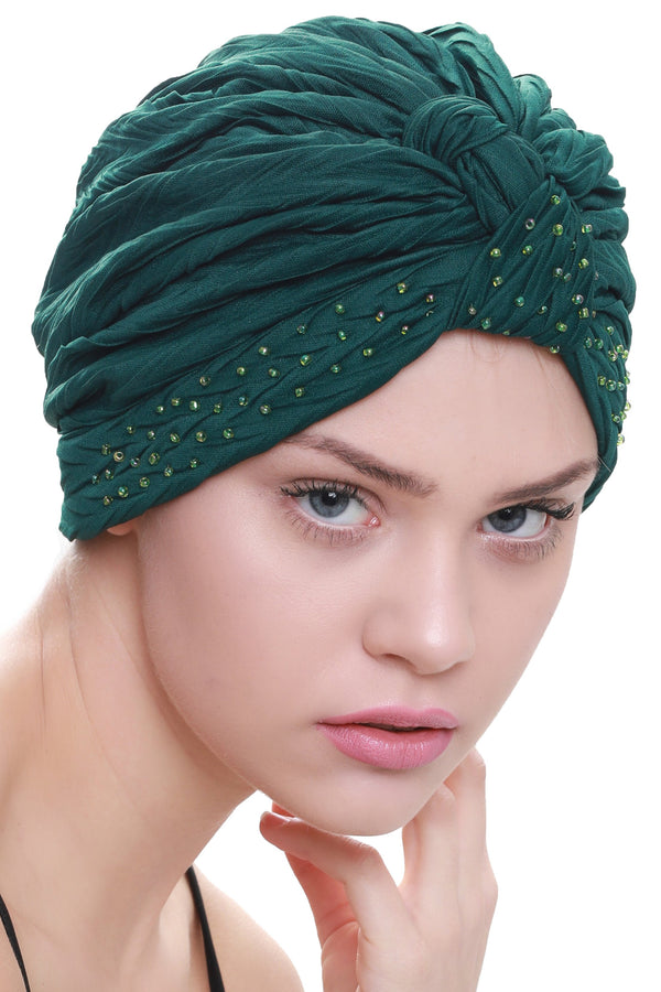 Deresina Beaded w turban for hairloss jade green