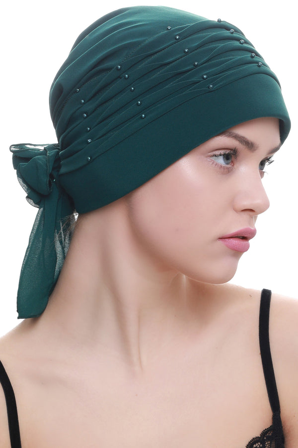 Deresina Twisted pleated cancer headwear jade green