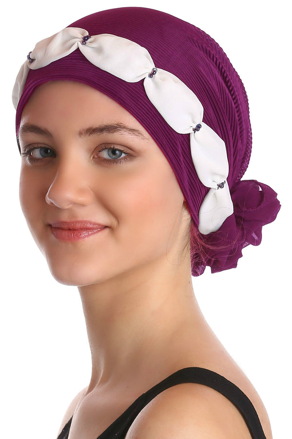 Deresina Shirred  beaded chemo headwear jazzberry cream