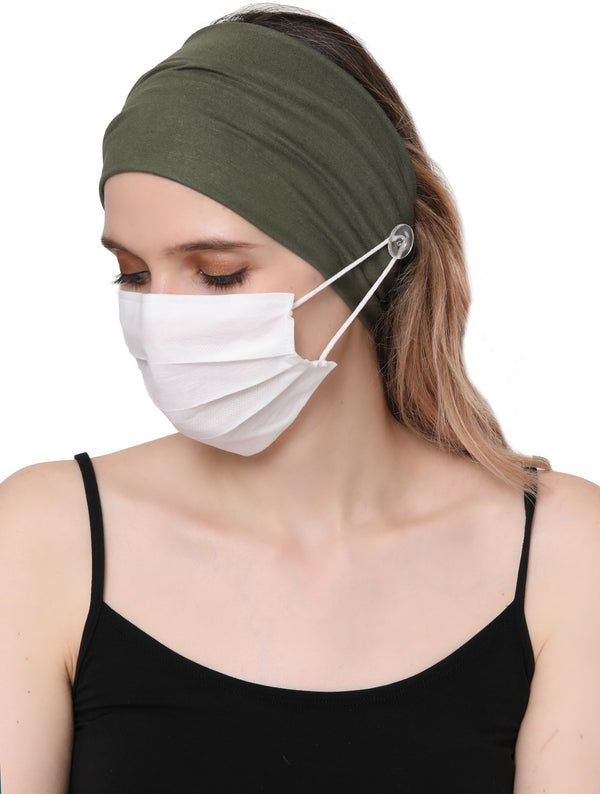 Clear Button Plain Headband for Mask-Khaki