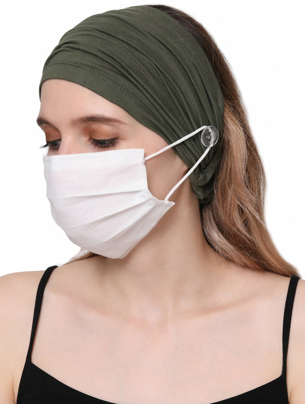 Stretchy Headband for Mask - Khaki
