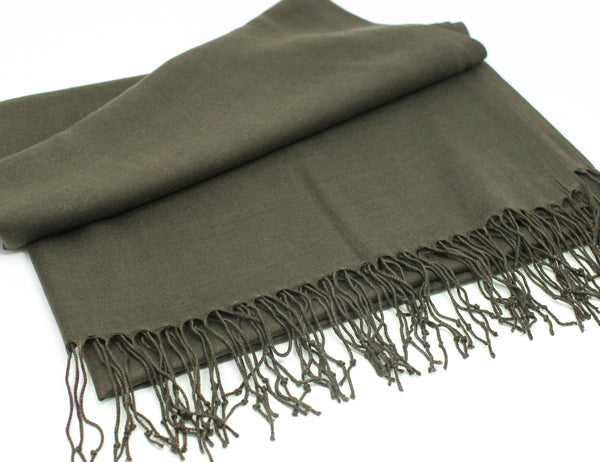 Solid Fringed Long Scarf - Khaki