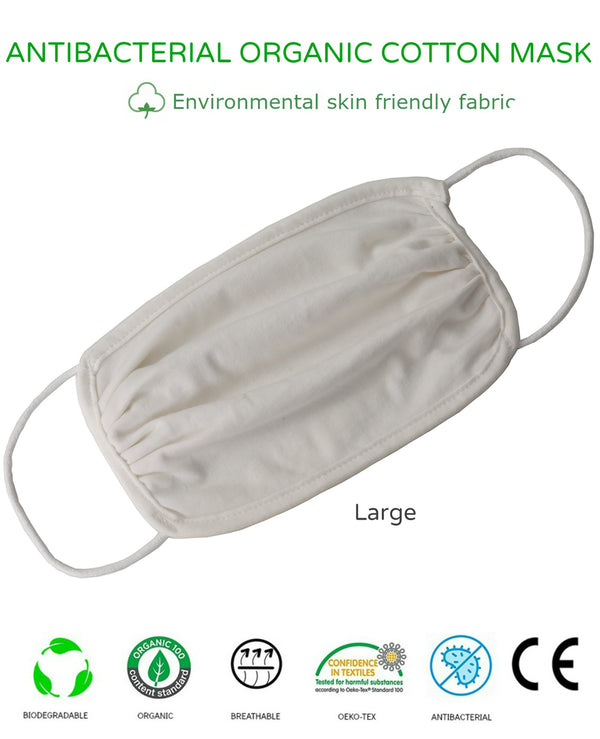 Unisex Washable Reusable 2Ply Antibacterial Organic Cotton Face Mask-LARGE