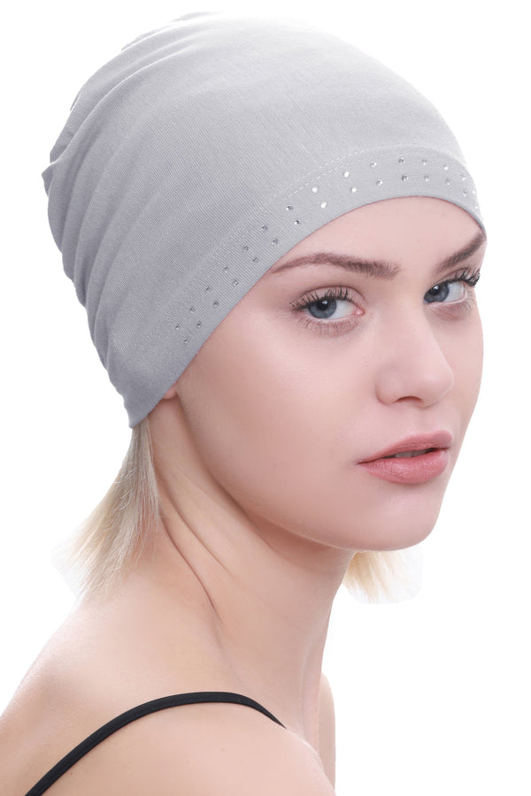 Deresina Jewelled front cotton chemo cap mulberry