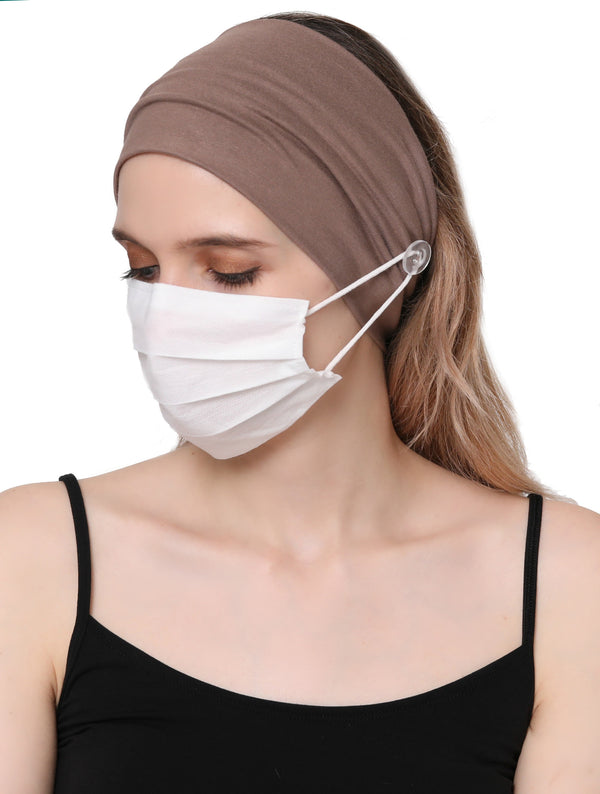 Clear Button Plain Headband for Mask-Mink