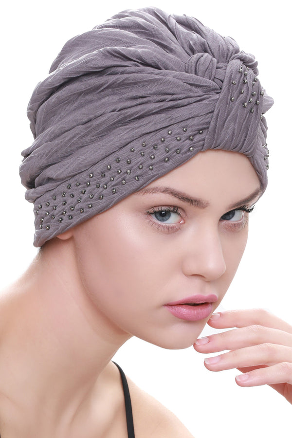 Deresina Beaded w turban for hairloss grey