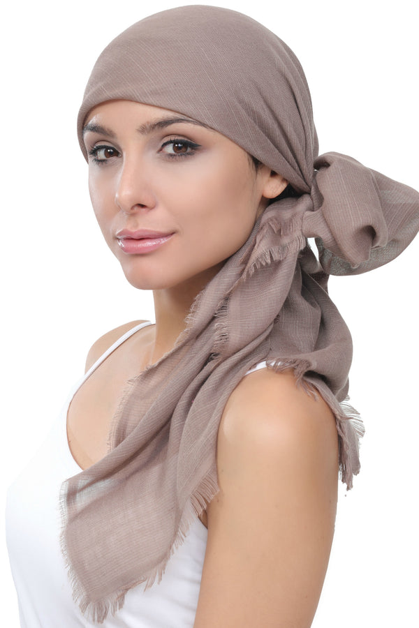 Seasonal  Head Scarf - Beige with Edges