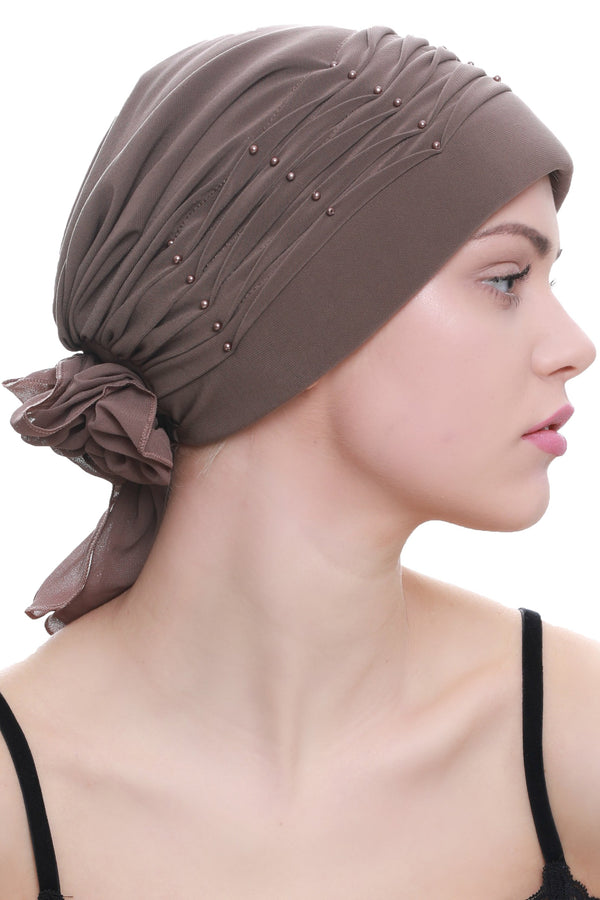 Deresina Twisted pleated cancer headwear mink
