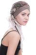 Deresina W cap with attached chemo headscarf mink beige abstract design