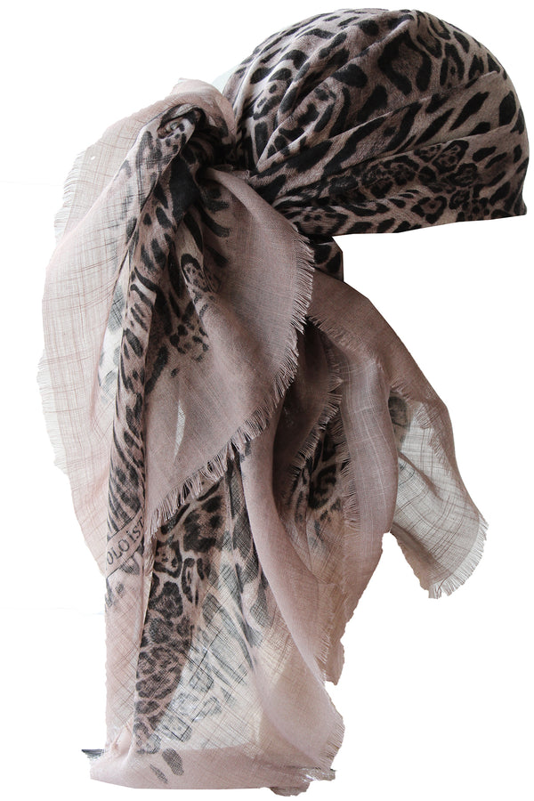 Special Fringed Trim Square Headscarf- Mink Brown Leopard
