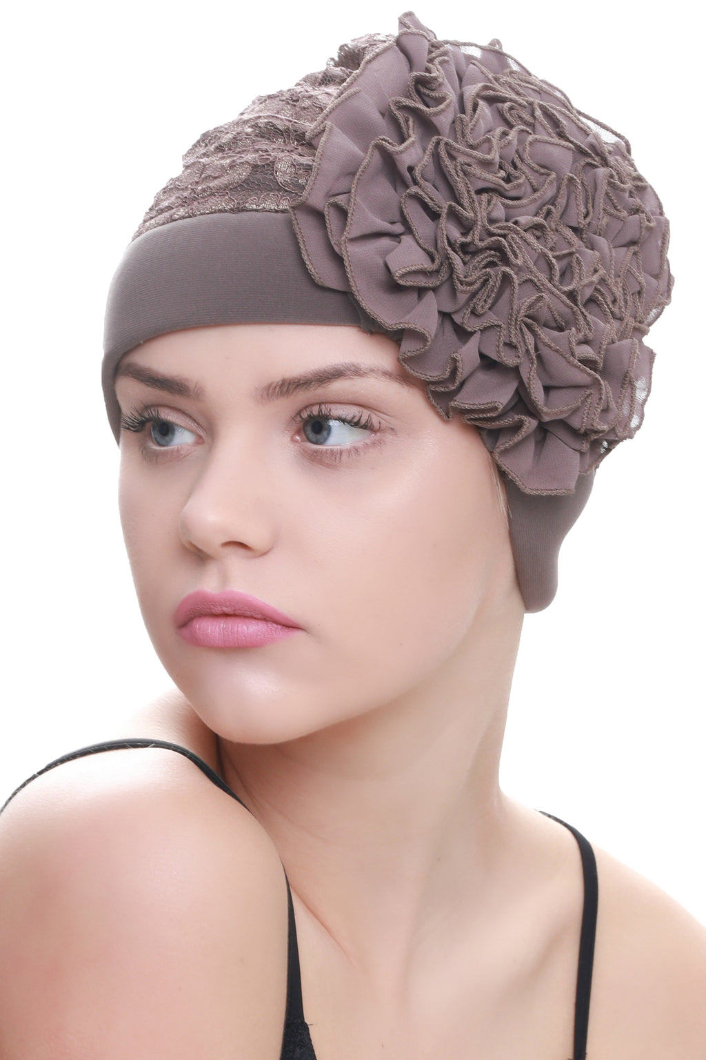 Deresina Lace hairloss headwear with ruffle flower mink