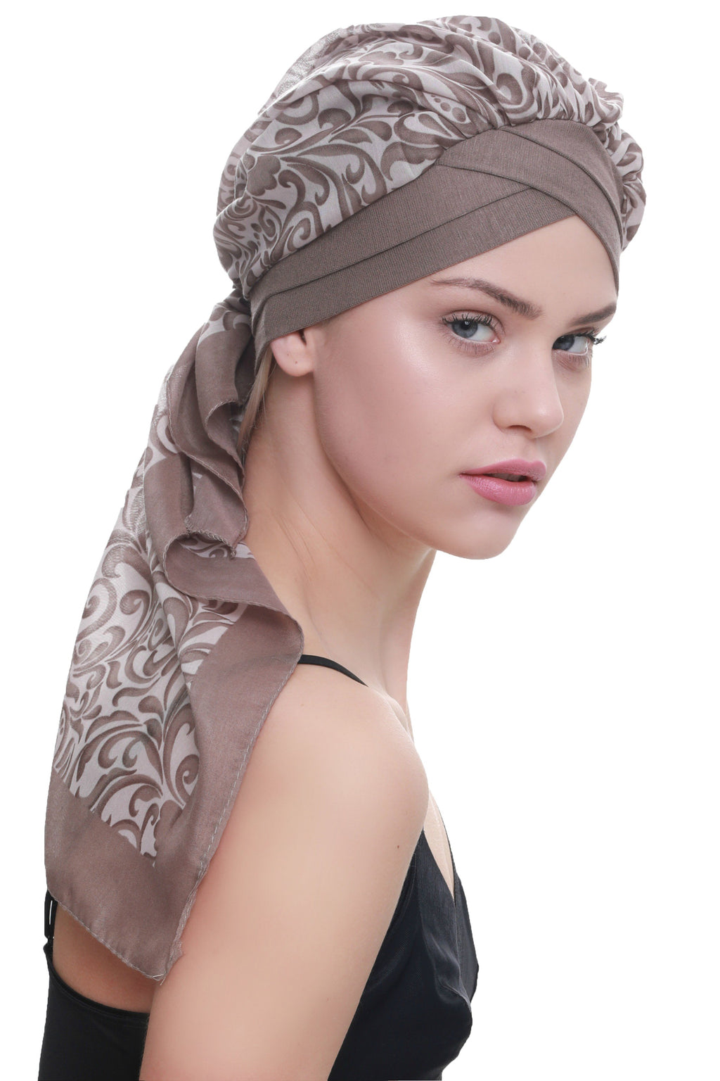 Deresina W cap with attached chemo headscarf mink paisley