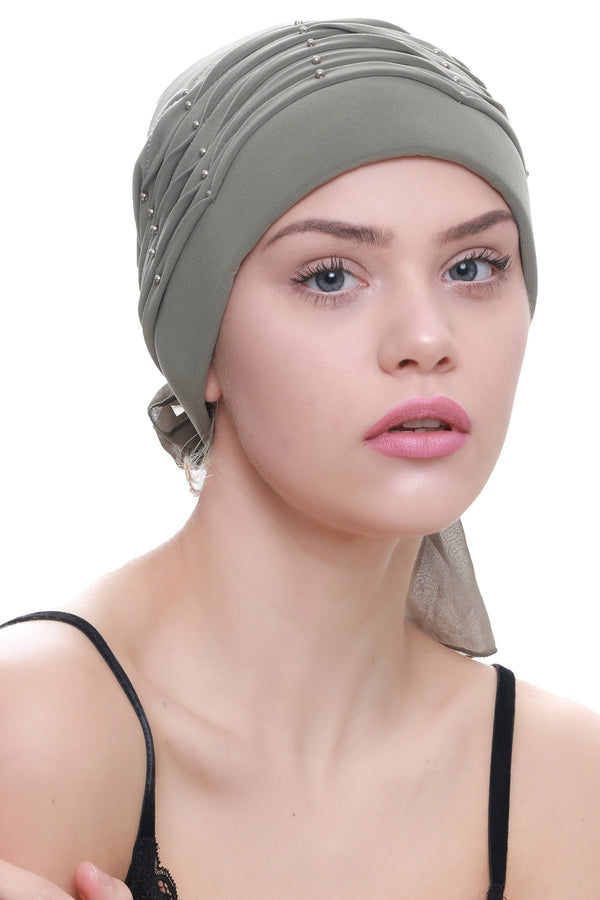 Deresina Twisted pleated cancer headwear moss green