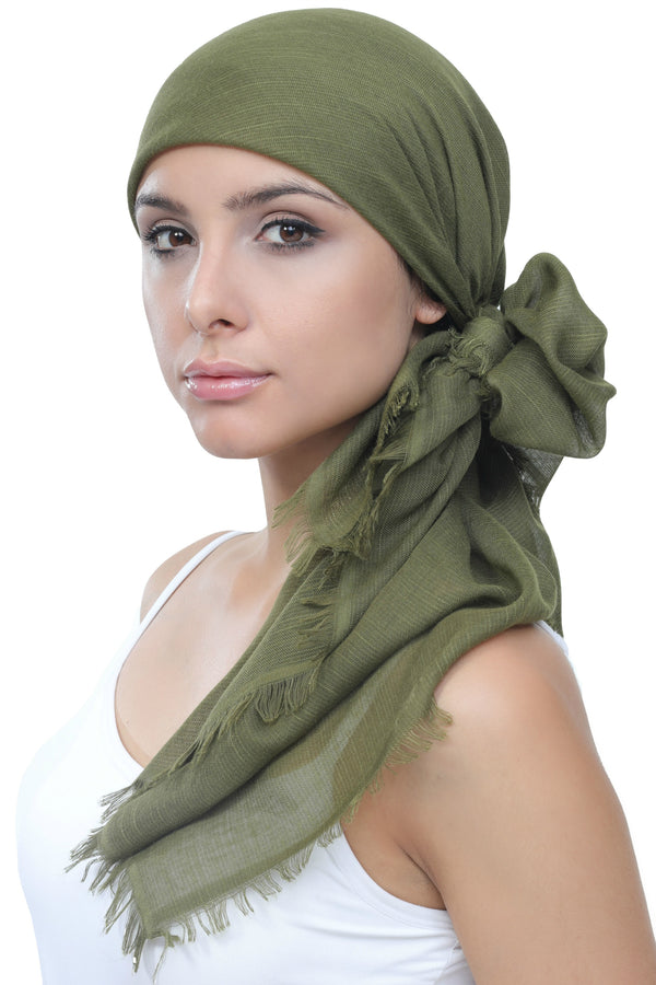 Seasonal Head Scarf - Linum Khaki with Edges