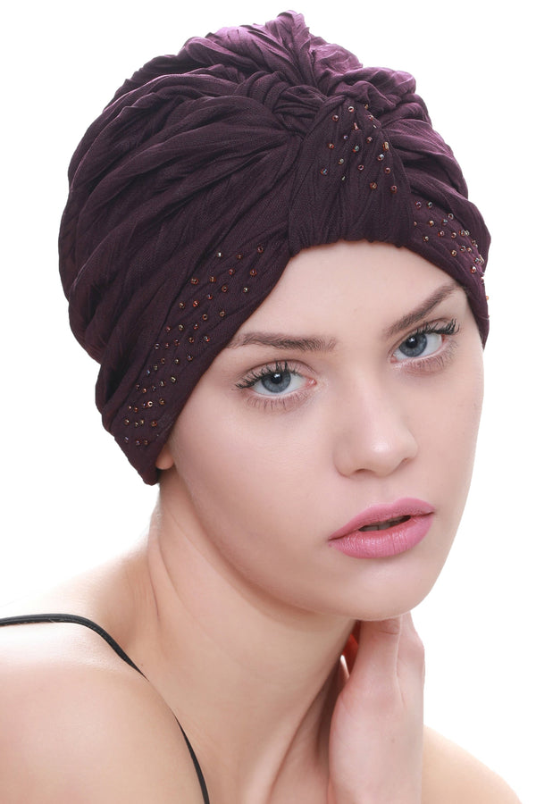 Deresina Beaded w turban for hairloss mulberry