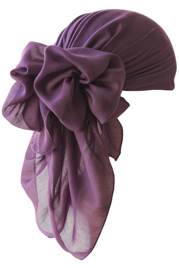 NEW-Plain Square Headscarf- Mulberry