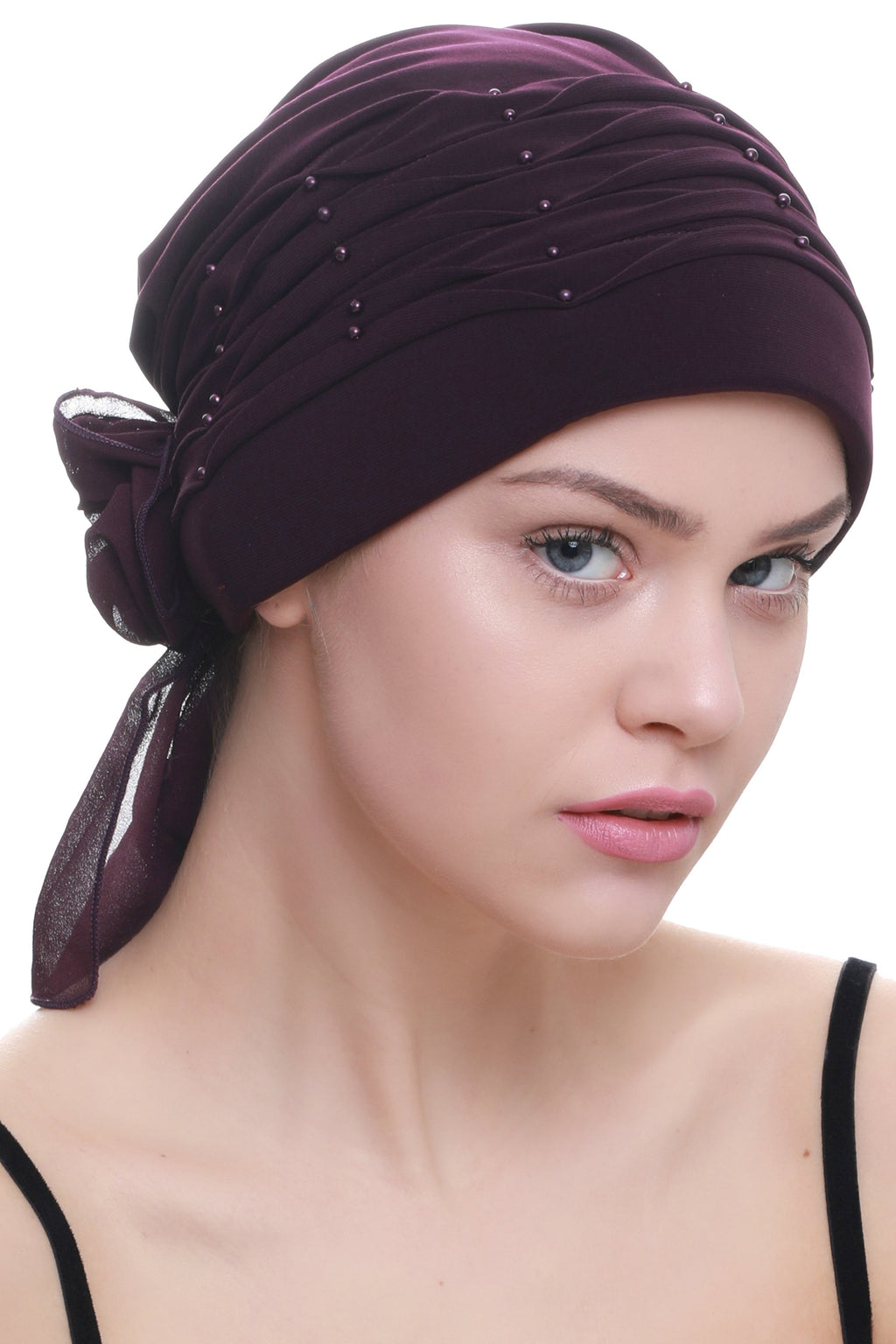 Deresina Twisted pleated cancer headwear mulberry