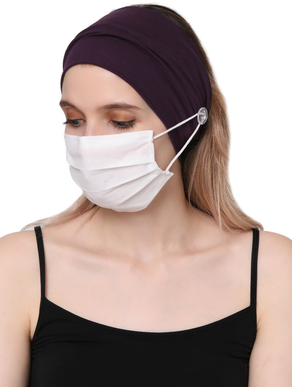 Clear Button Plain Headband for Mask-Mulberry
