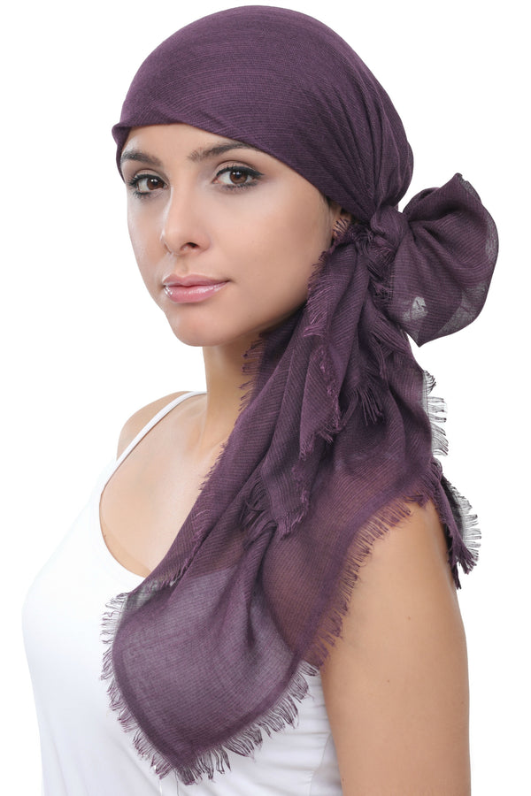 Ultra Soft Head Scarf - Boysenberry with Edges
