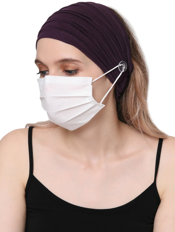 Stretchy Headband for Mask - Mulberry