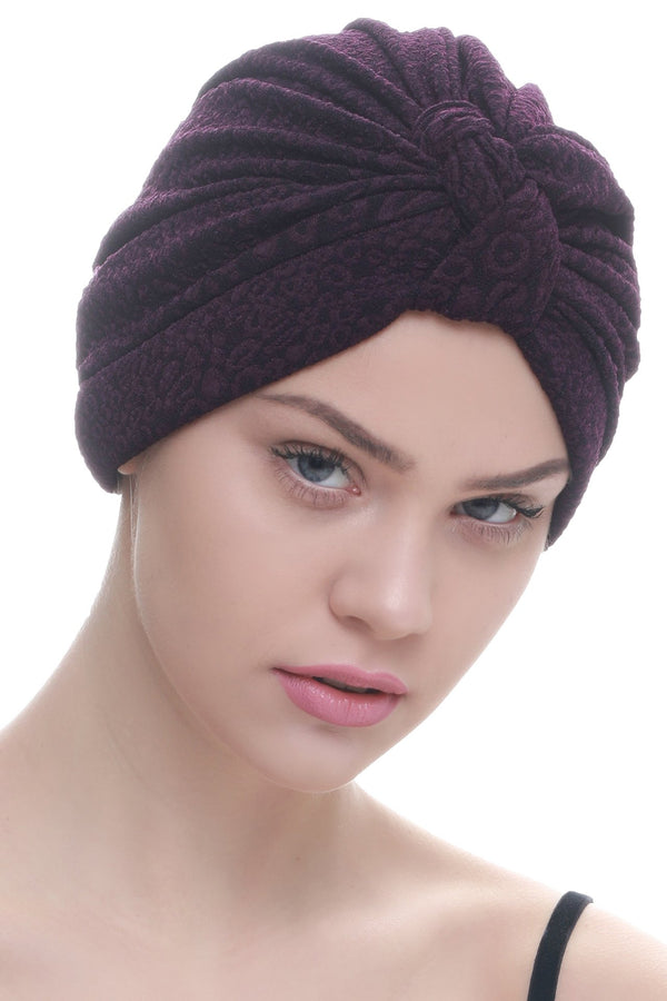 Deresina Brocade w turban for chemo mulberry