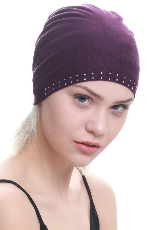 Deresina Jewelled front cotton chemo cap maya blue