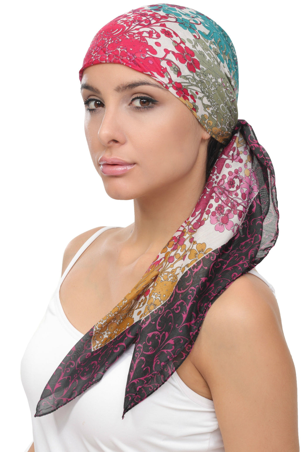 Deresina Everyday square chemo headscarf mulberry black