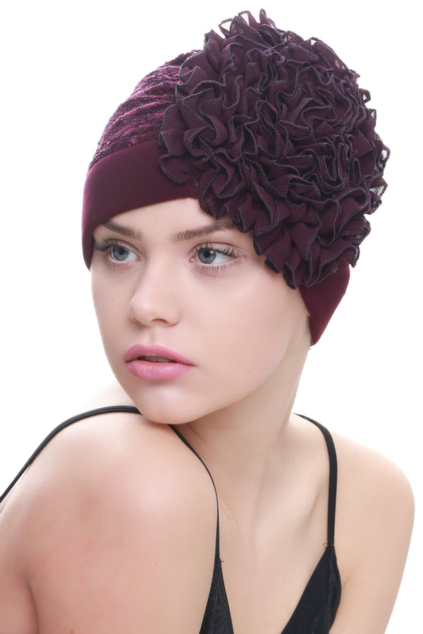 Deresina Lace hairloss headwear with ruffle flower purple