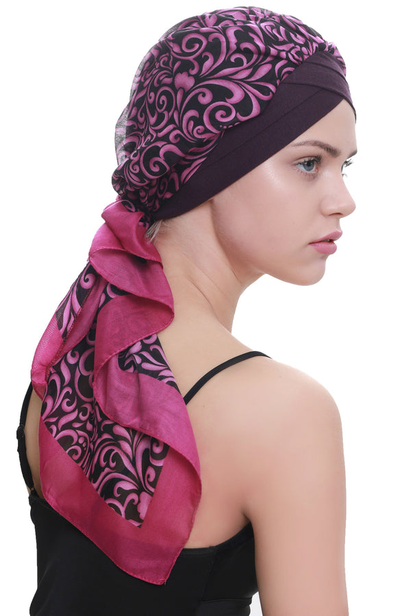 Deresina W cap with attached chemo headscarf mulberry paisley