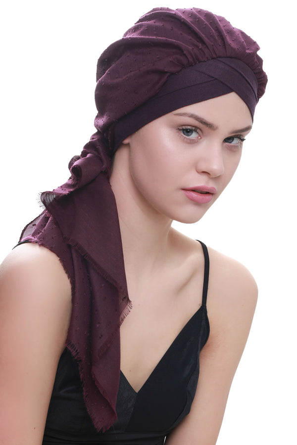 Deresina W cap with attached chemo headscarf mulberry tinyweeny