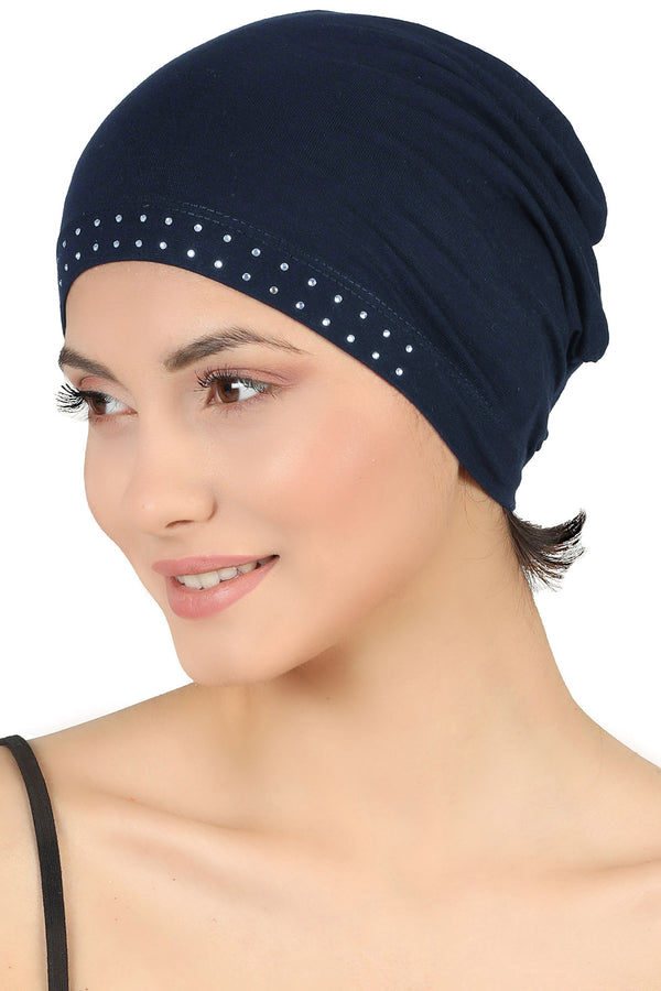 Jewelled Front Essential Cap - Navy