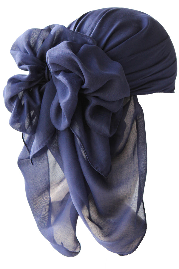 NEW-Plain Square Headscarf- Navy