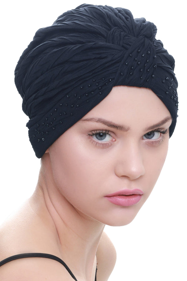 Deresina Beaded w turban for hairloss navy