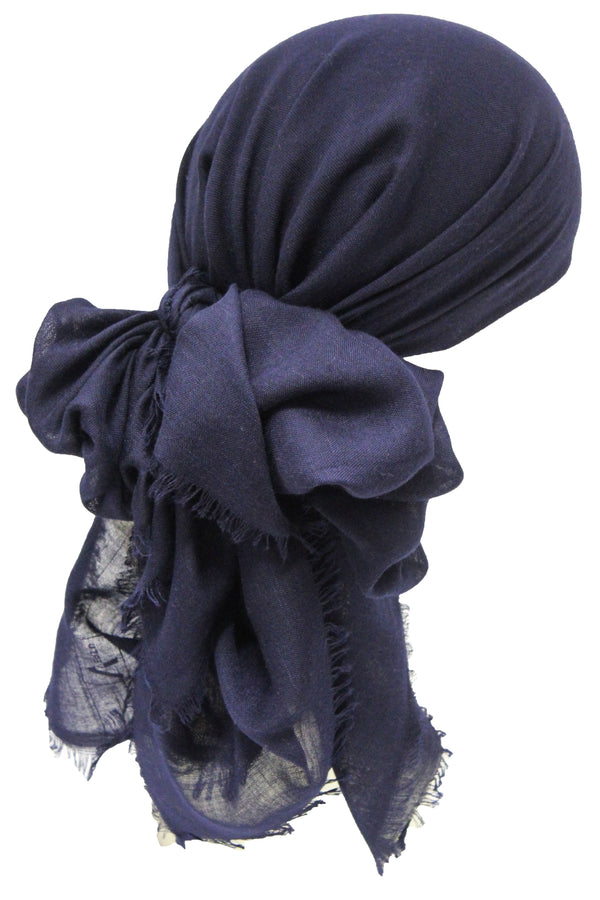 Deresina Seasonal Chemo Headscarf Linum Navy With Edges