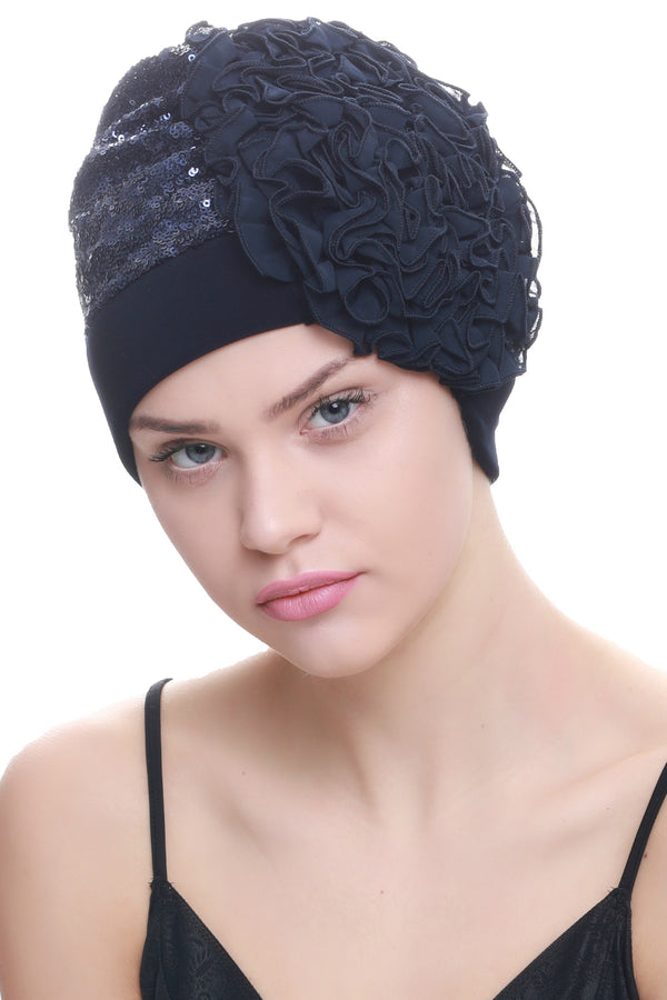 Deresina Lace hairloss headwear with ruffle flower sequin navy